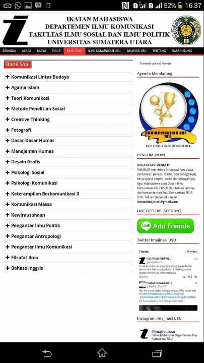 website ikatan mahasiswa jurusan ilmu komunikasi universitas sumatera utara (FISIP USU)