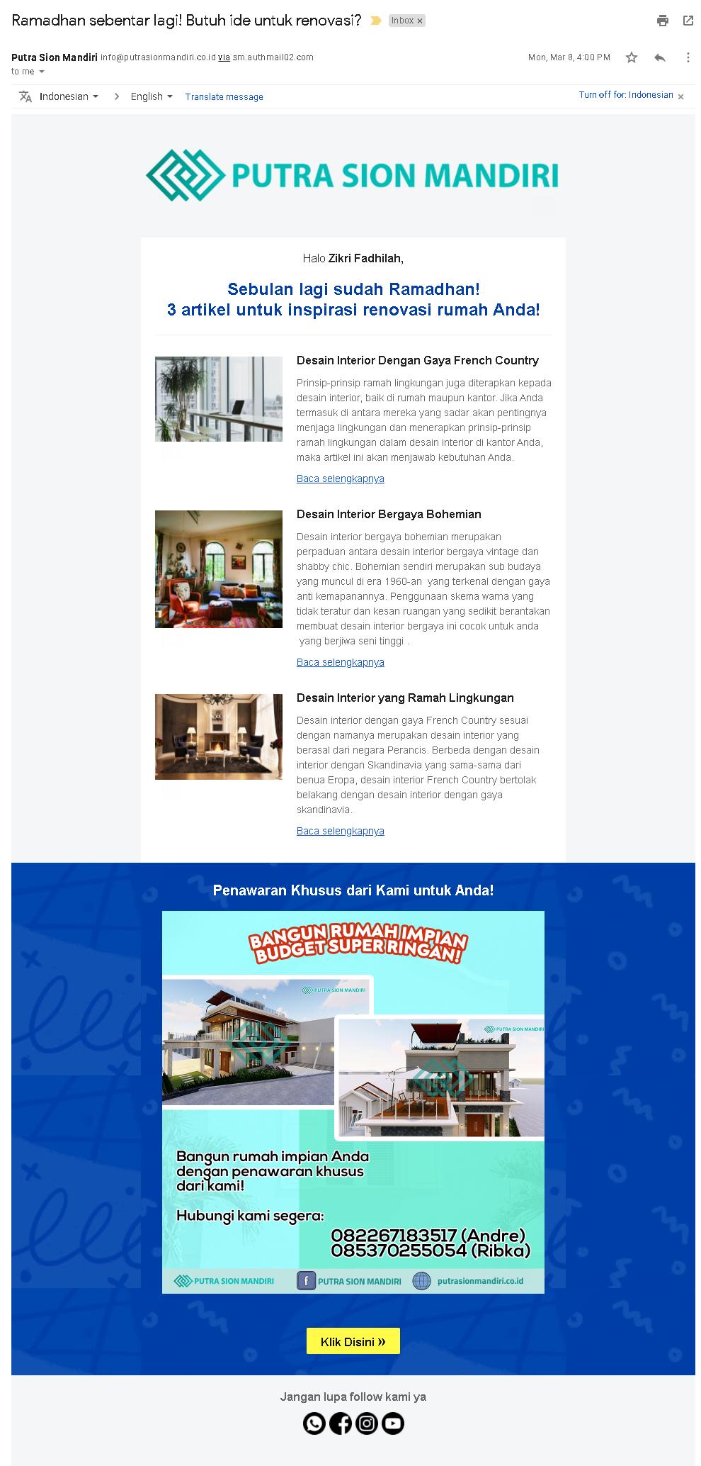 Email Marketing Putra Sion Mandiri